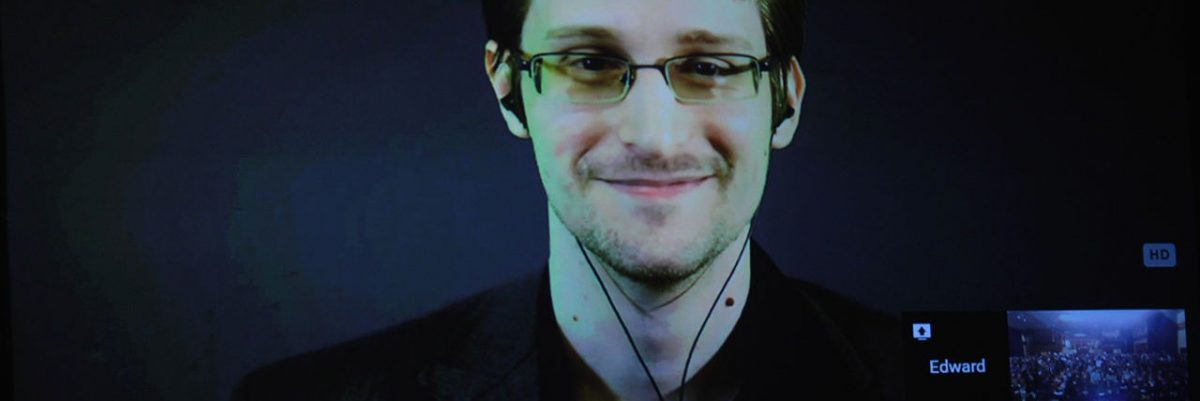 Edward Snowden in a video conference