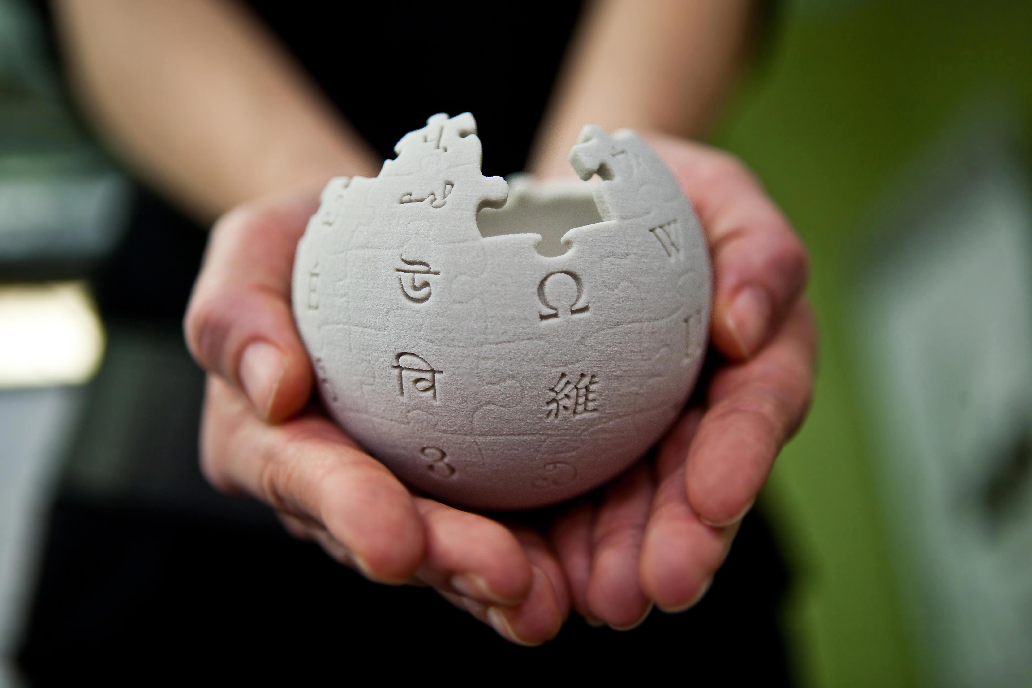 Wikipedia globe in hands