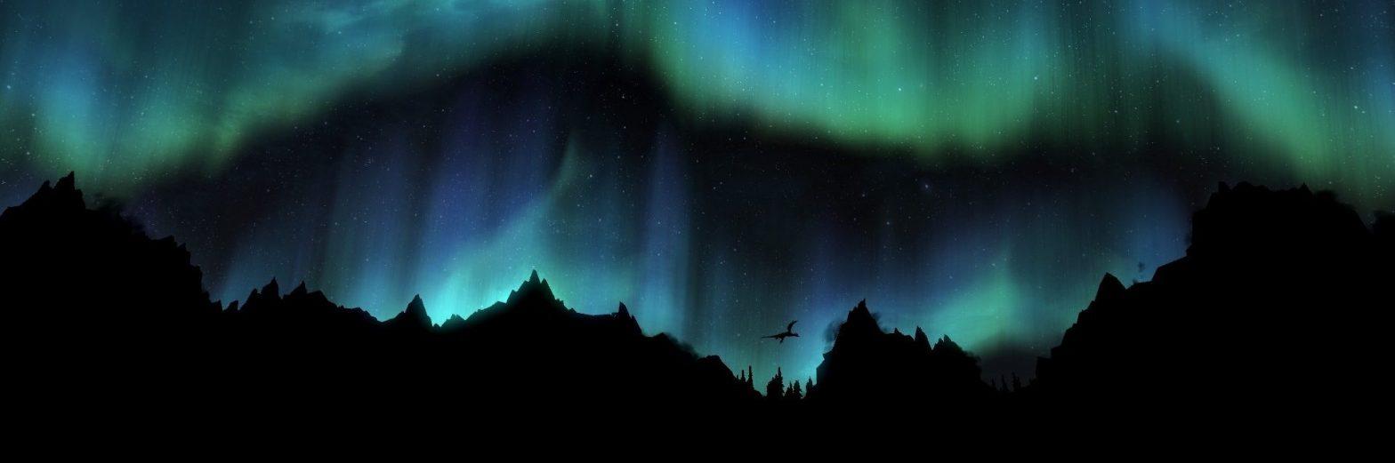 Skyrim dragon and aurora