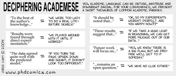 PhD Comics - Deciphering Academese