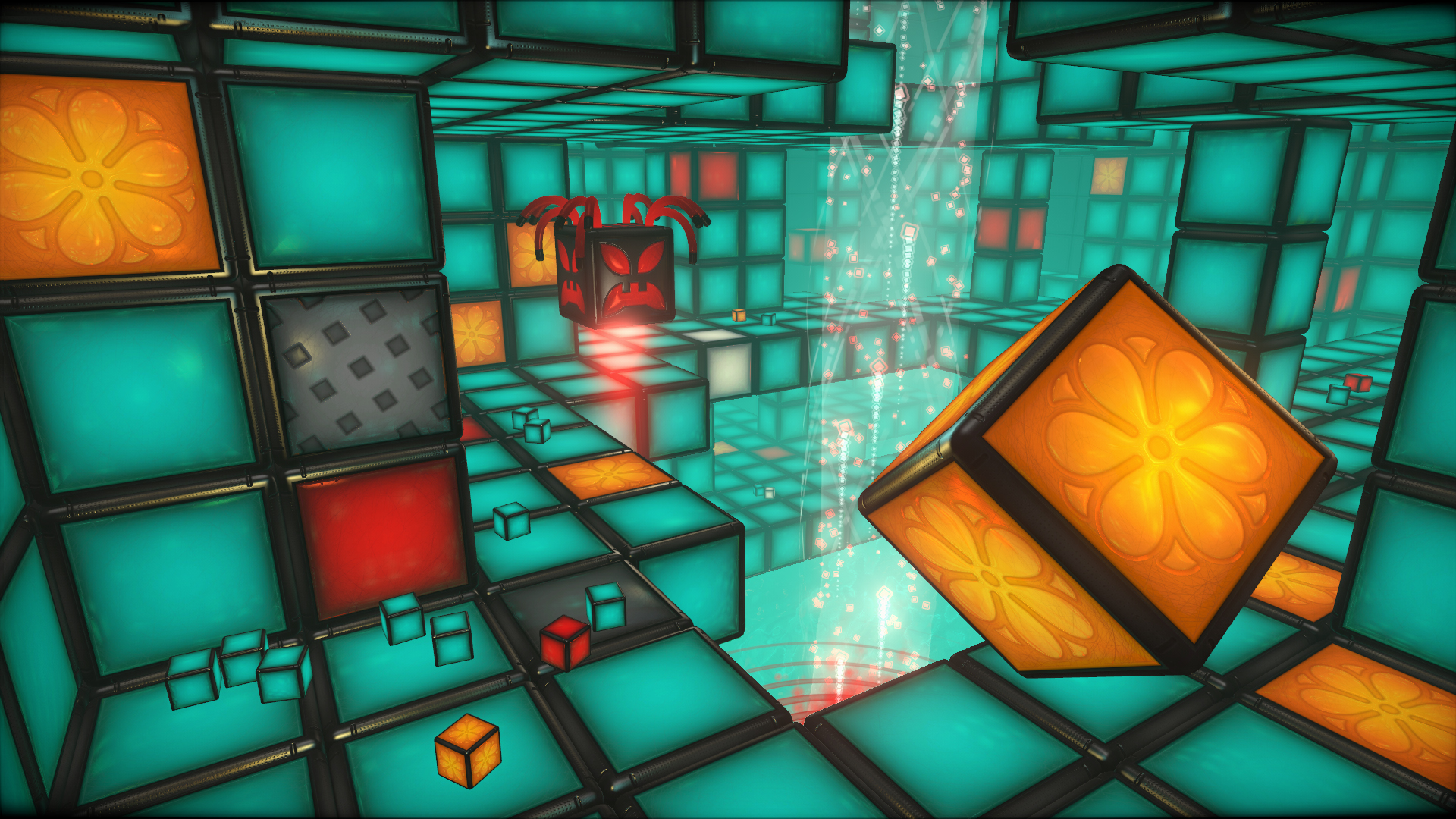 An environment consisting of colorful, glowing blocks
