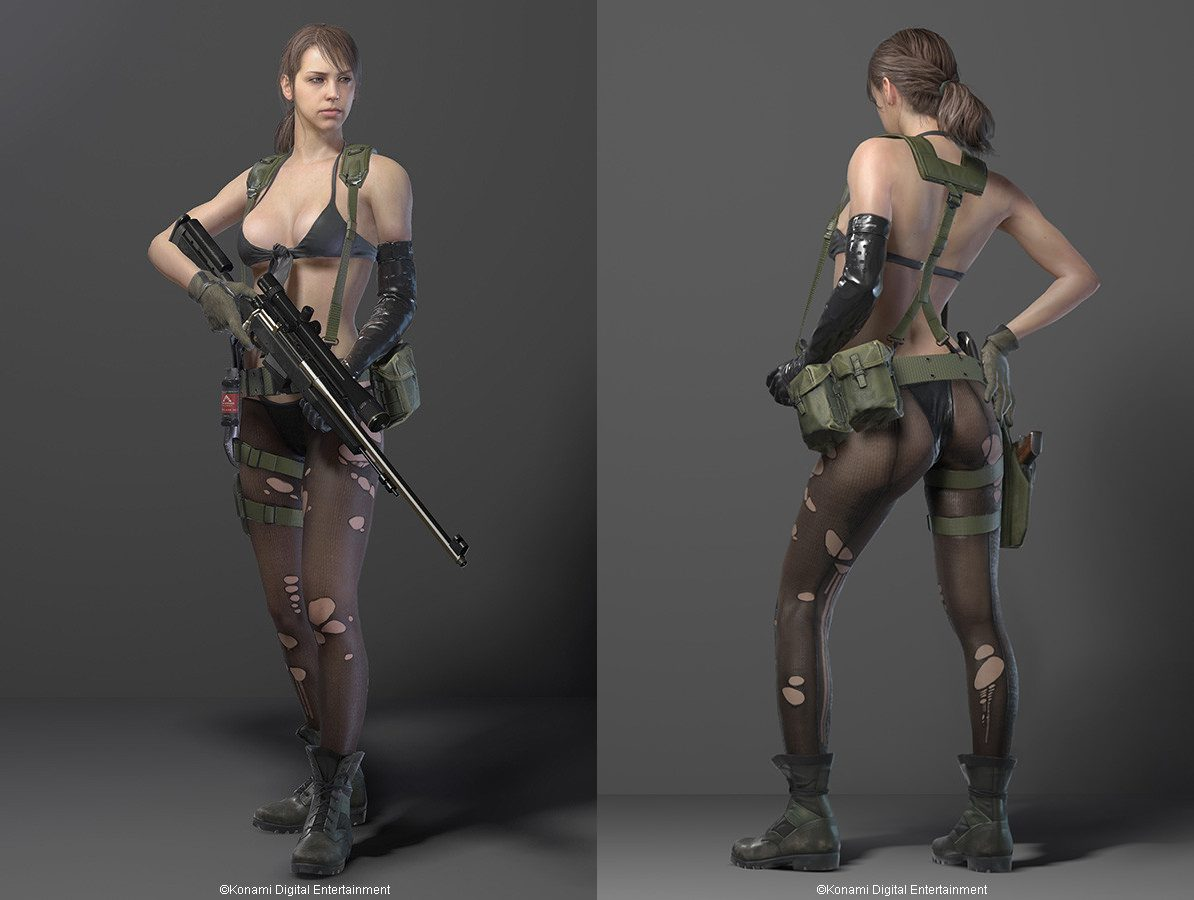 Quiet from Metal Gear Solid V wearing almost nothing at all.