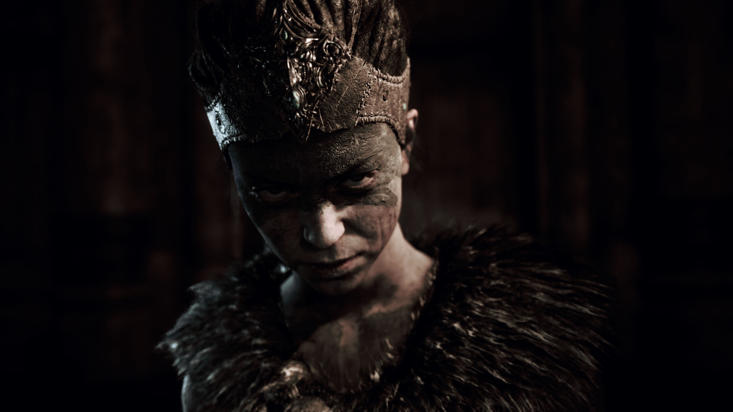 Senua looking angrily at the camera