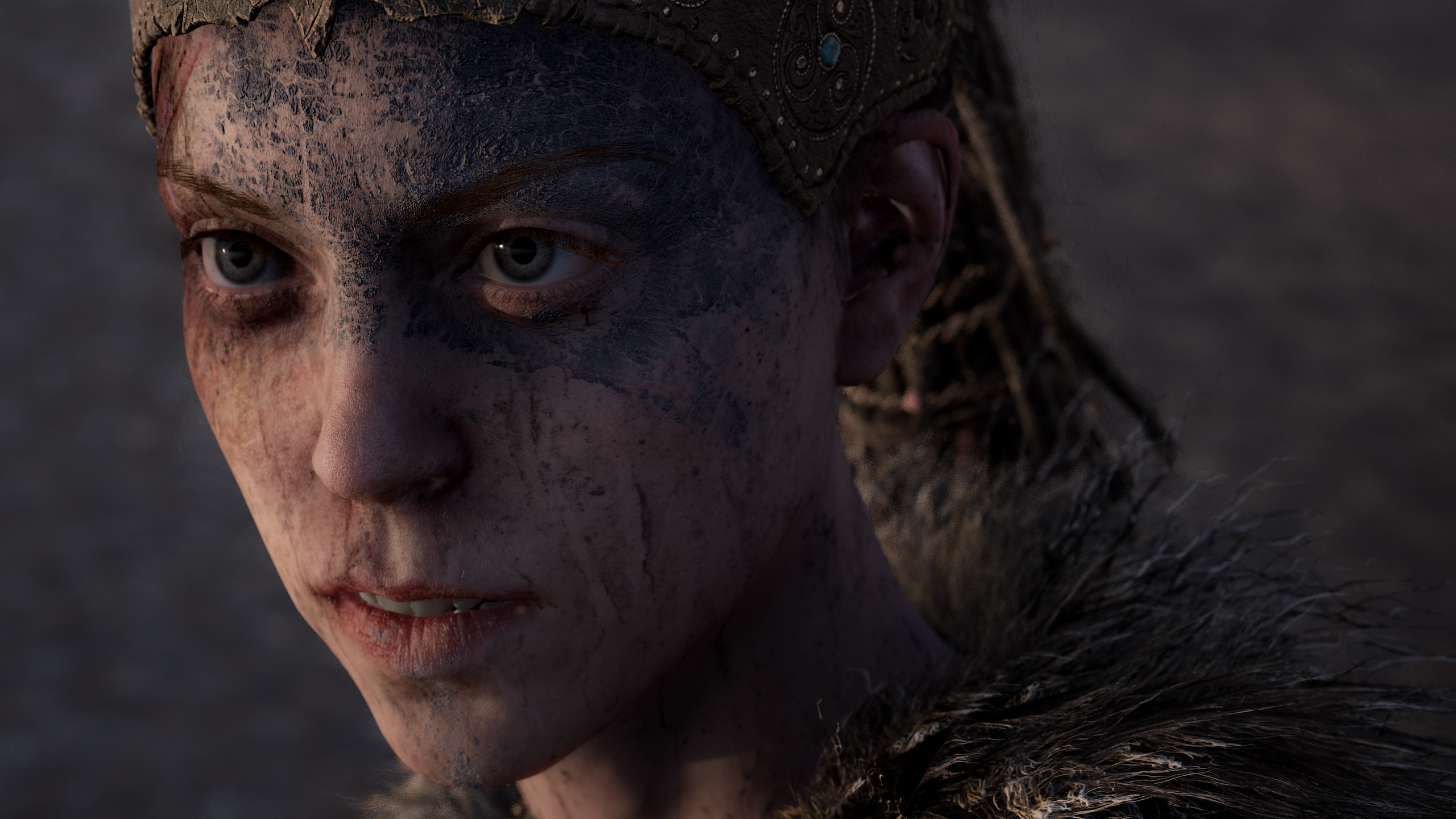 Closeup of Senua's face