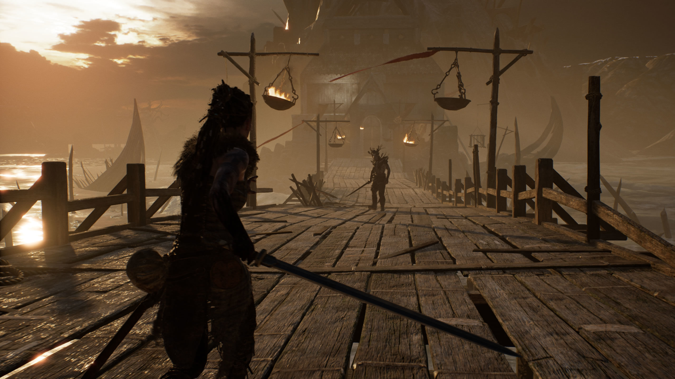 Senua and an enemy on a bridge