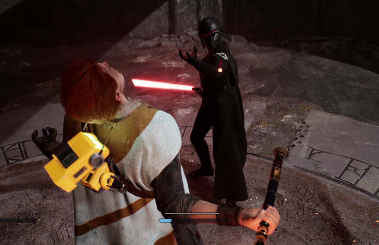 An enemy immobilizing Cal using the Force